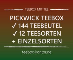 Pickwick Teebox gefüllt mit 144 Teebeuteln