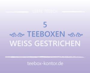 5 weisse Teeboxen aus Holz