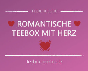 Romantische Teebox mit Herz-Ausschnitt und Verzierung in Rosa und Rottönen auf teebox-kontor.de