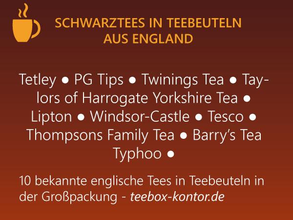 Englsiche Schwarztees in Teebeuteln - Großpackungen - 10 Teemarken